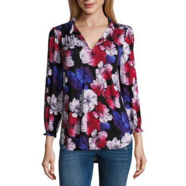 Liz Claiborne 3/4 Sleeve Split Crew Neck T-Shirt-Womens