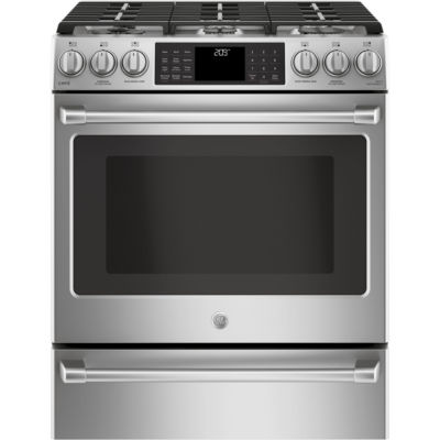 "GE Cafe´™ Series 30"" Slide-In Front Control Dual-Fuel Range with Warming Drawer"