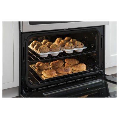 "GE Cafe´™ Series 30"" Slide-In Front Control Dual-Fuel Double Oven with Convection Range"