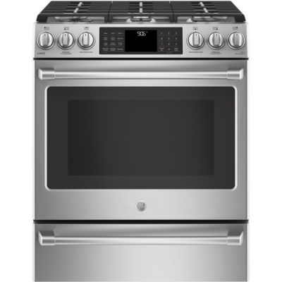"GE Cafe´™ Series 30"" Slide-In Front Control Range with Warming Drawer"
