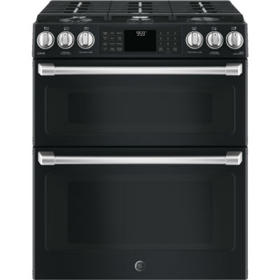 "GE Cafe´™ Series 30"" Slide-In Front Control Gas Double Oven with Convection Range"