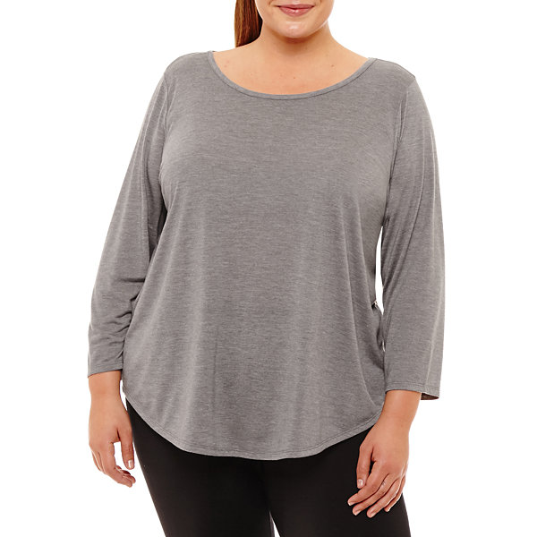 Xersion 3/4 Sleeve T-Shirt-Womens Plus