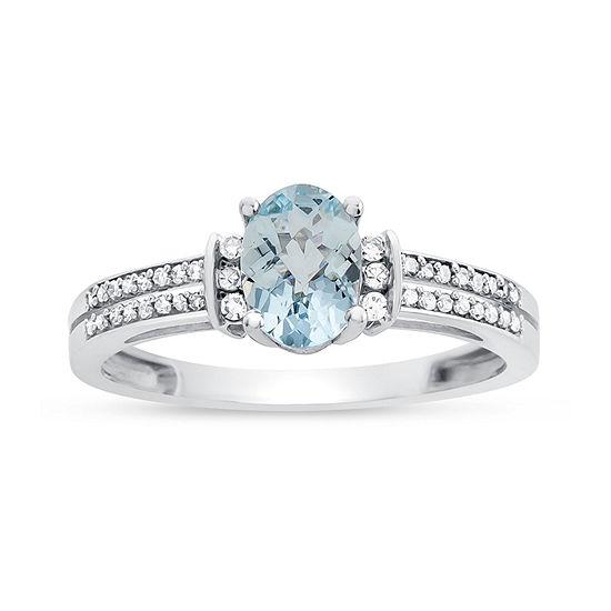 Womens Genuine Aquamarine & 1/10 CT. T.W. Diamond 10K Gold Cocktail Ring