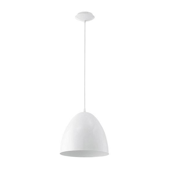 Eglo Coretto 1 Light 11 Inch Steel Glossy White Pendant Ceiling Light