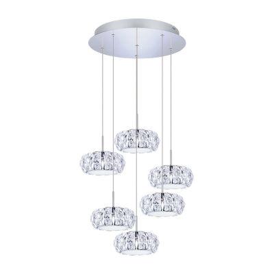Eglo Corliano LED 19 inch Chrome Multi Light Pendant Ceiling Light