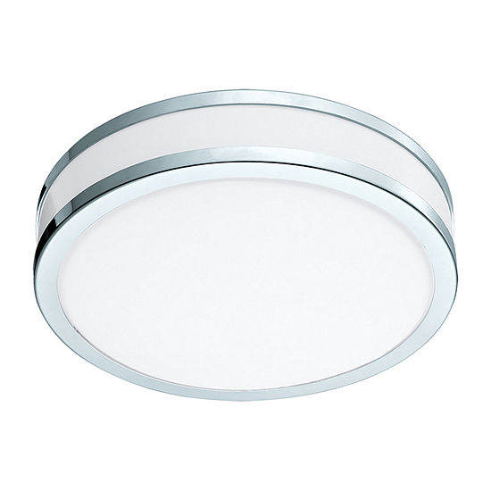 Eglo Palermo II LED 11 inch Chrome and White Flush Mount Ceiling Light