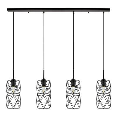 Eglo Estevau 2 4-Light 41 inch Matte Black Linear Pendant Ceiling Light