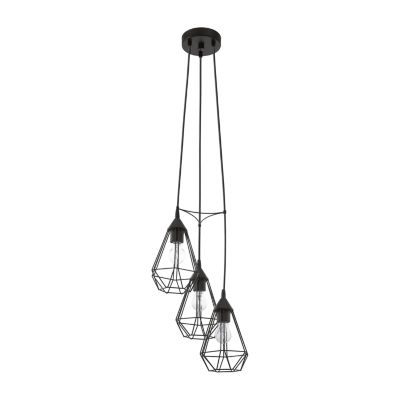 Eglo Tarbes 3-Light 12 inch Matte Black Multi Pendant Ceiling Light