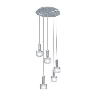 Eglo Fabiana 5 Light Chrome & Shiny White Trestle Ceiling Light