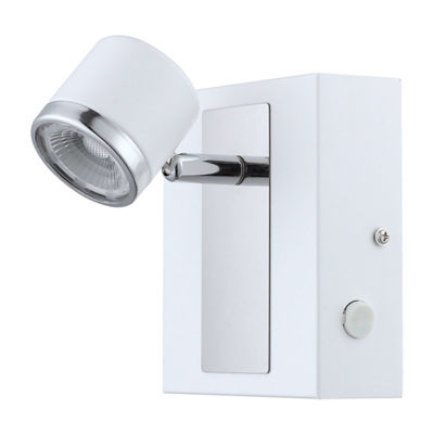Eglo Pierino 1 LED 5 inch White and Chrome Wall Light