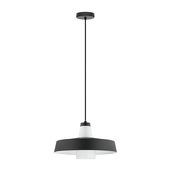 Eglo Tabanera 1 Light 14 Inch Black And White Pendant Ceiling Light