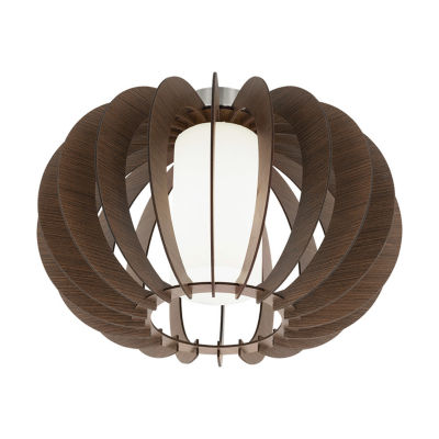 Eglo Stellato III 1-Light 16 inch Dark Brown Semi Flush Mount Ceiling Light