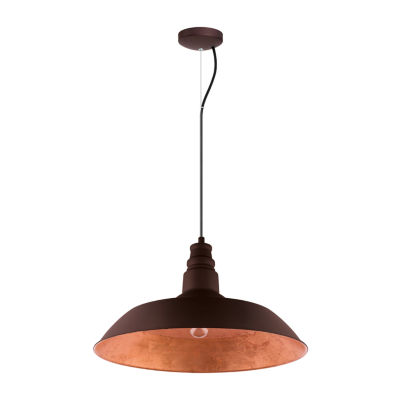 Eglo Somerton 1-Light 22 inch Chocolate Brown withGold Interior Pendant Ceiling Light