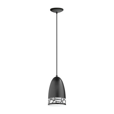 Eglo Savignano 1-Light 6 inch Matte Black and White Mini Pendant Ceiling Light