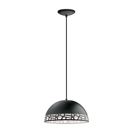 Eglo Savignano 1-Light Matte Black and White Pendant Ceiling Light