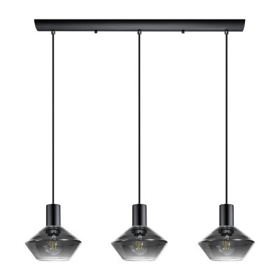 Eglo Ponzano 3-Light 28 inch Black Chrome Linear Pendant Ceiling Light