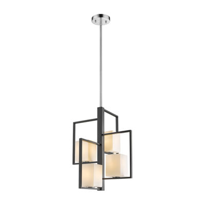 Eglo Regis Falls 4-Light 20 inch Black and ChromePendant Ceiling Light