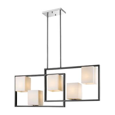 Eglo Regis Falls 5 Light 36 inch Black and Chrome Linear Pendant Ceiling Light
