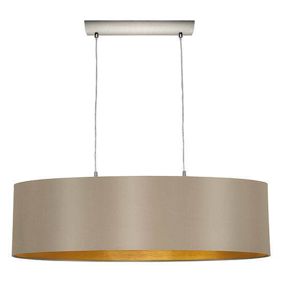 Eglo Maserlo 2-Light 9 inch Matte Nickel Pendant Ceiling Light