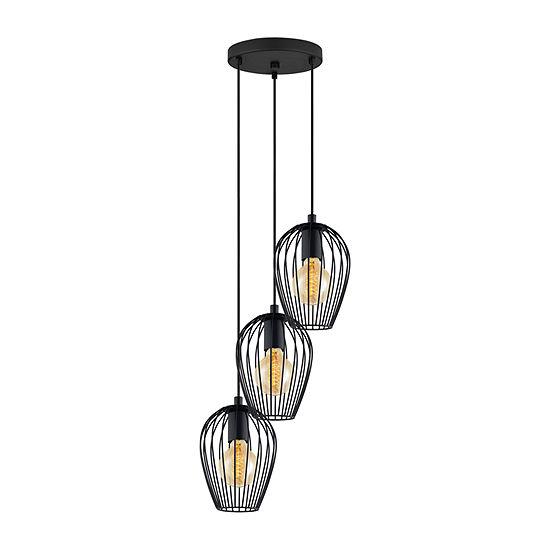 Eglo Newtown 3-Light 16 inch Matte Black Multi Light Pendant Ceiling Light