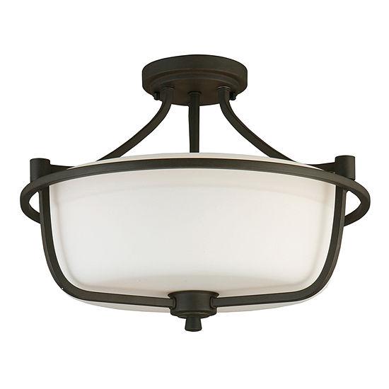 Eglo Mayview 3-Light 16 inch Matte Bronze Semi Flush Mount Ceiling Light