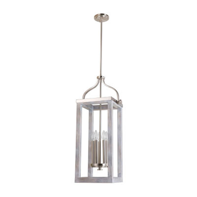 Eglo Montrose 5 Light 11 inch Acacia Wood and Brushed Nickel Foyer Pendant Ceiling Light