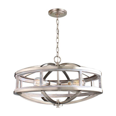 Eglo Montrose 4-Light 19 inch Acacia Wood and Brushed Nickel Chandelier Ceiling Light