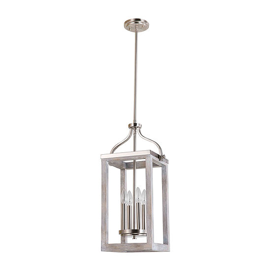 Eglo Montrose 4-Light 11 inch Acacia Wood and Brushed Nickel Foyer Pendant Ceiling Light