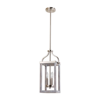 Eglo Montrose 3-Light 9 inch Acacia Wood and Brushed Nickel Foyer Pendant Ceiling Light