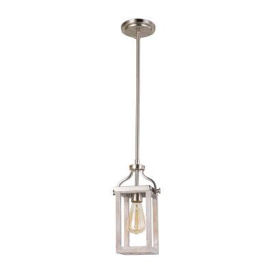 Eglo Montrose 1-Light 5 inch Acacia Wood and Brushed Nickel Mini Pendant Ceiling Light