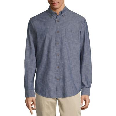 St. John's Bay Long Sleeve Button-Front Shirt-Slim