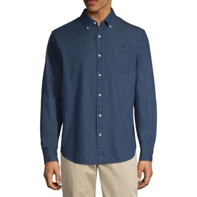 St. John's Bay Long Sleeve Dots Button-Front Shirt-Slim