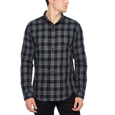 JF J.Ferrar Mens Long Sleeve Plaid Button-Front Shirt
