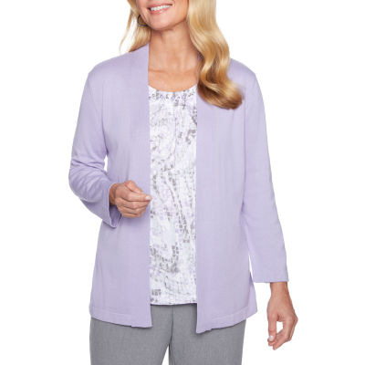 Alfred Dunner Smart Investments Womens 3/4 Sleeve Layered Sweaters