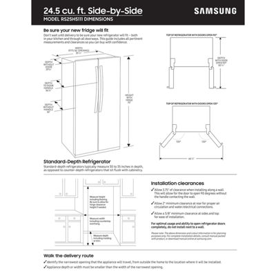 "Samsung ENERGY STAR® 24.5 cu. ft. 36"" Wide Side-by-Side Refrigerator with Ice & Water Dispenser"