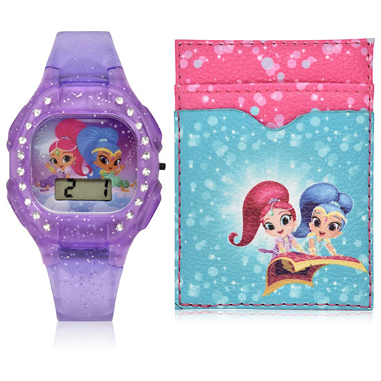 Shimmer And Shine Unisex Adult Automatic Digital Purple Strap Watch-Sns40017jc
