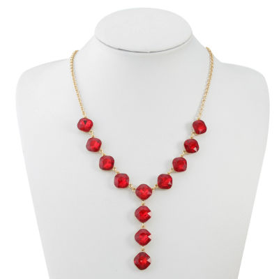 Monet Jewelry Womens Red Y Necklace