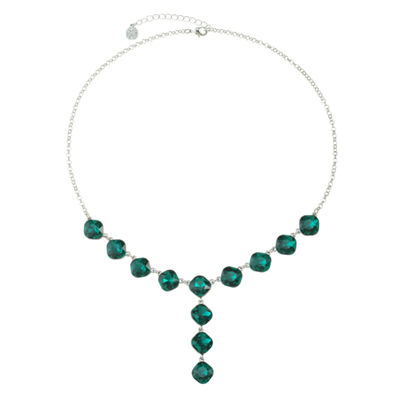 Monet Jewelry Womens Green Y Necklace