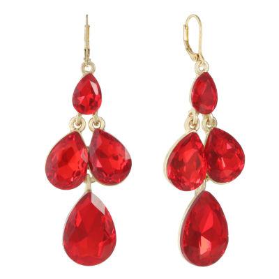 Monet Jewelry Red Chandelier Earrings