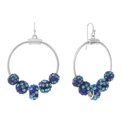 Liz Claiborne Blue 55mm Hoop Earrings