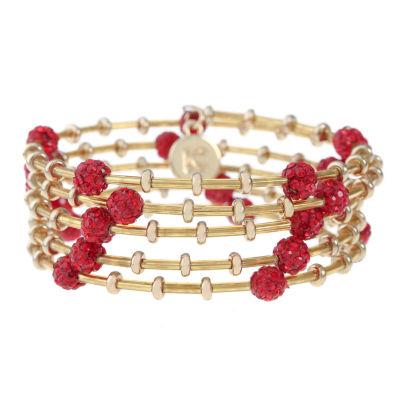 Liz Claiborne Red Gold Tone Beaded Bracelet