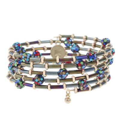 Liz Claiborne Multi Color Gold Tone Beaded Bracelet