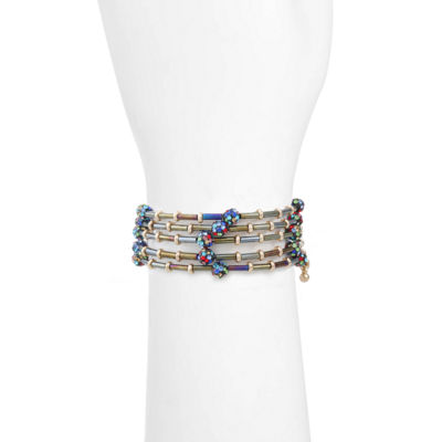 Liz Claiborne Multi Color Gold Tone Beaded Bracelet