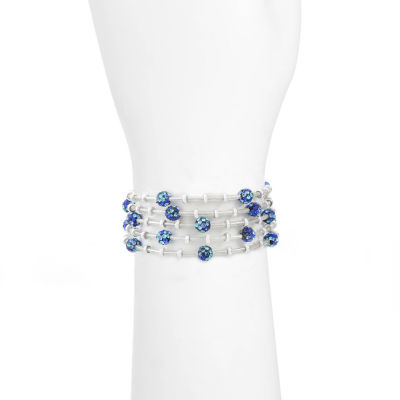 Liz Claiborne Blue Silver Tone Beaded Bracelet