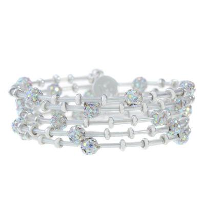 Liz Claiborne White Silver Tone Beaded Bracelet