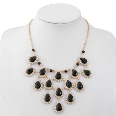Monet Jewelry Womens Black Statement Necklace