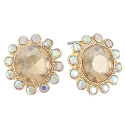 Monet Jewelry Brown 17mm Stud Earrings