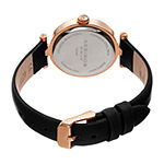Akribos XXIV Womens Diamond Accent Black Leather Strap Watch-A-1044bkr
