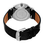 August Steiner Mens Multi-Function Black Leather Strap Watch-As-8256ssbk