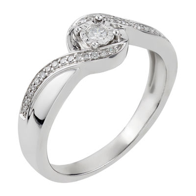 Promise My Love Womens 1/7 CT. T.W. Genuine White Diamond Sterling Silver Promise Ring